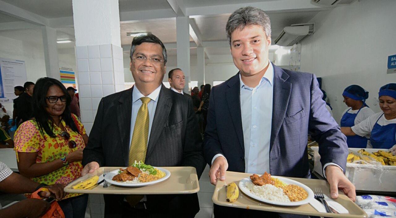 Governador Flávio Dino e secretário Neto Evangelista entregam o Restaurante Popular da Cidade Olímpica reestruturado. Foto: Karlos Geromy/Secap